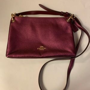 Coach burgundy pebbled leather crossbody bag